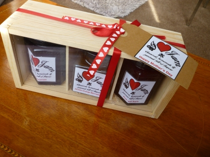 Our very popular jam hamper in a high quality wooden gift box