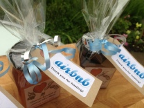 Corporate gift jams - gift wrapped with the company colours and logo - for Airbnb